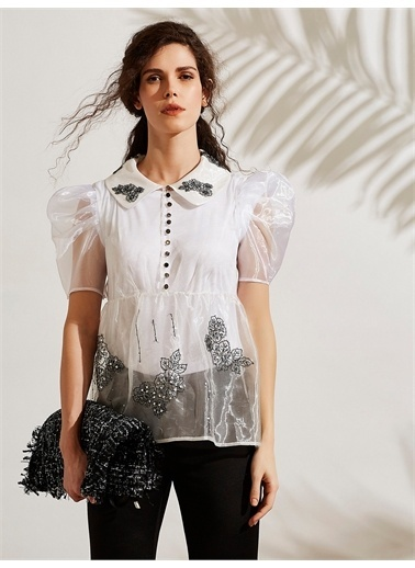 Vekem-Limited Edition Nakış Detaylı Organze Gömlek Beyaz
